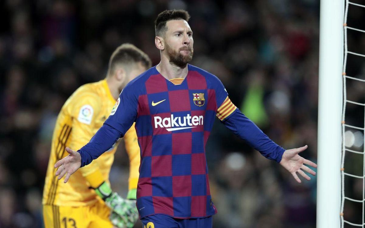 Un Messi de récord guía el triunfo azulgrana