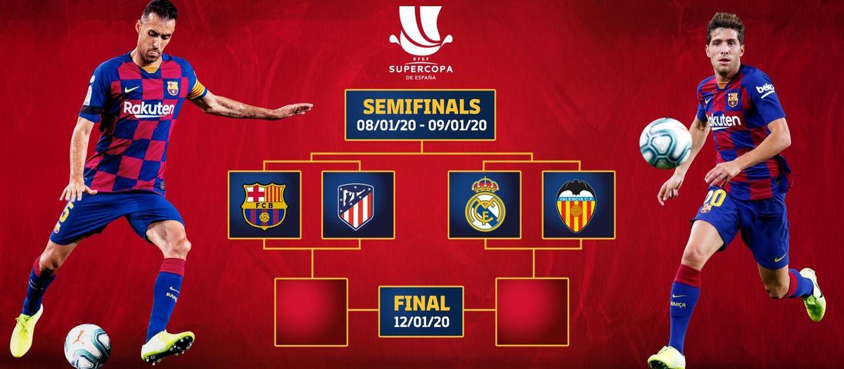 Barça - Atlético de Madrid en demi-finale de la Supercoupe d'Espagne