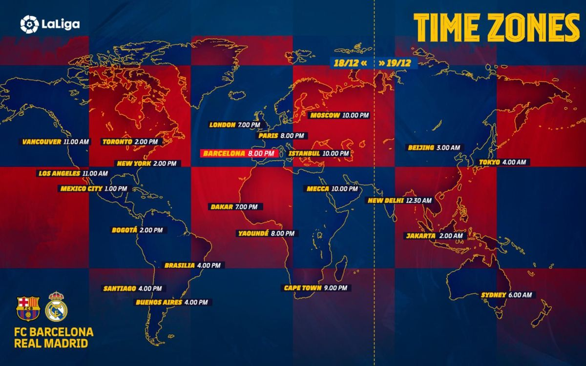 Barça vs. Madrid - Time Zones