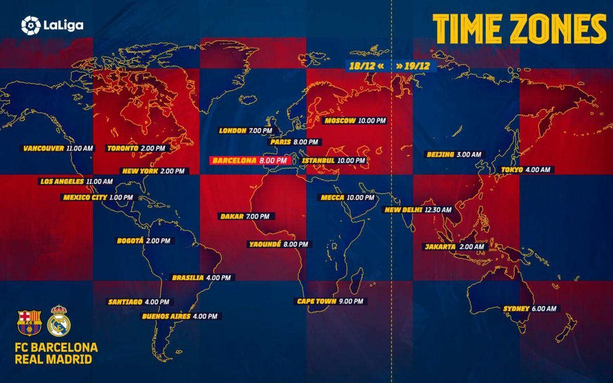 Barça vs. Madrid - Time Zones