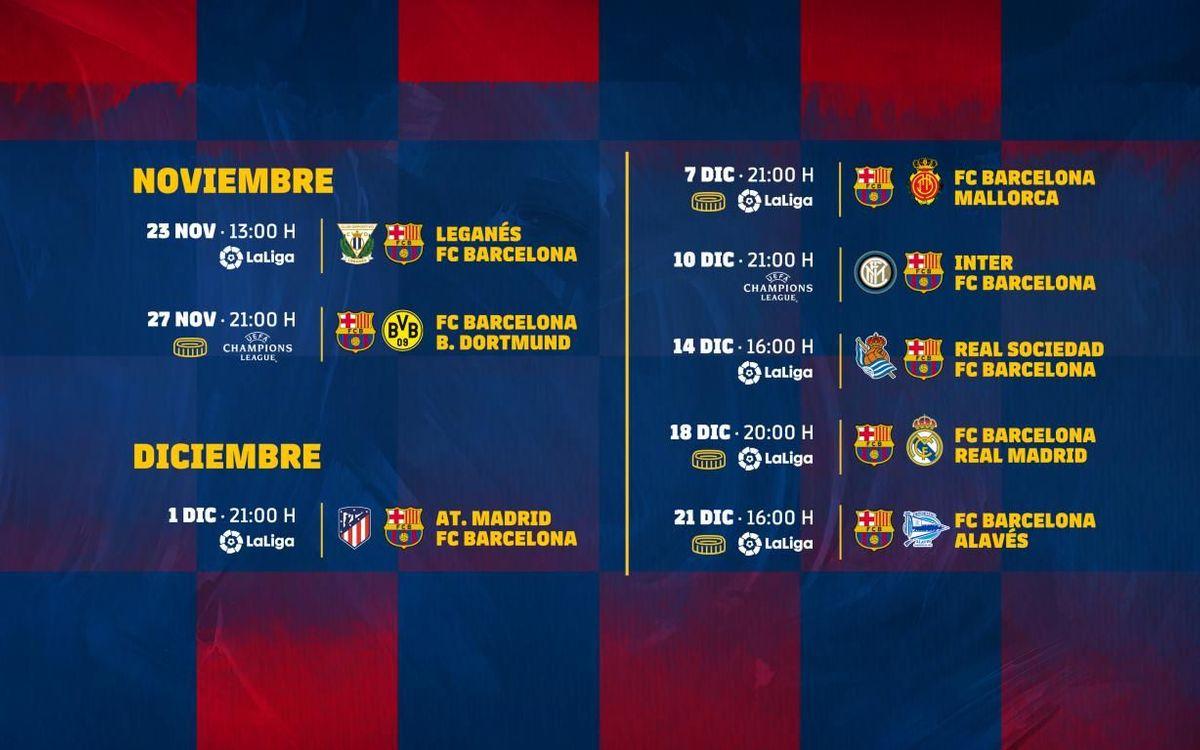 El calendario del Barça hasta 2020.