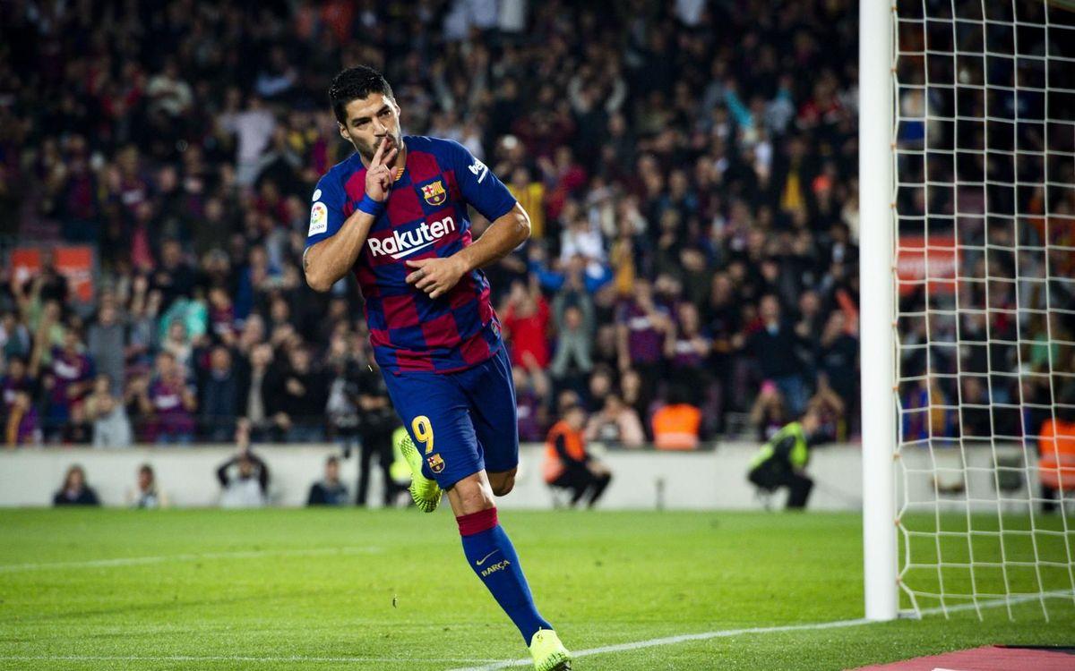 Suárez celebrando el gol contra el Valladolid esta temporada