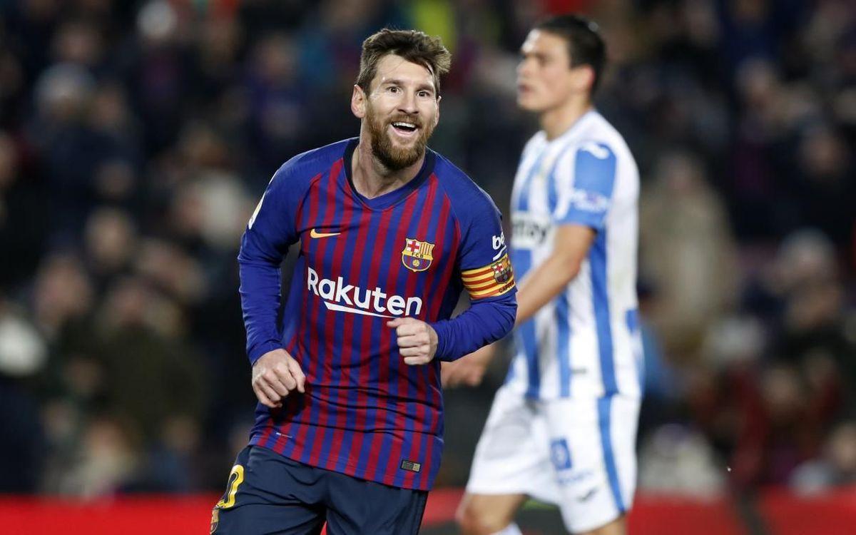 Leo Messi, autor de ocho goles contra el Leganés