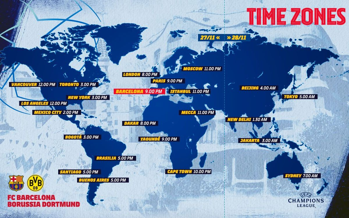 Barça vs Borussia Dortmund - Time Zones