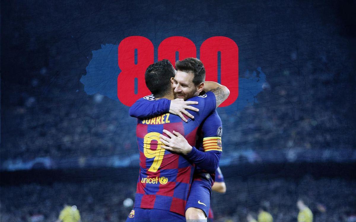 Messi y Suárez, 800 goles