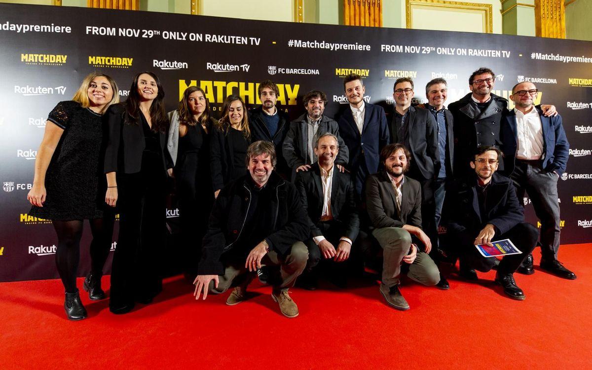 Los representantes de Produccciones del Barrio con el director de Barça Studios, Paco Latorre