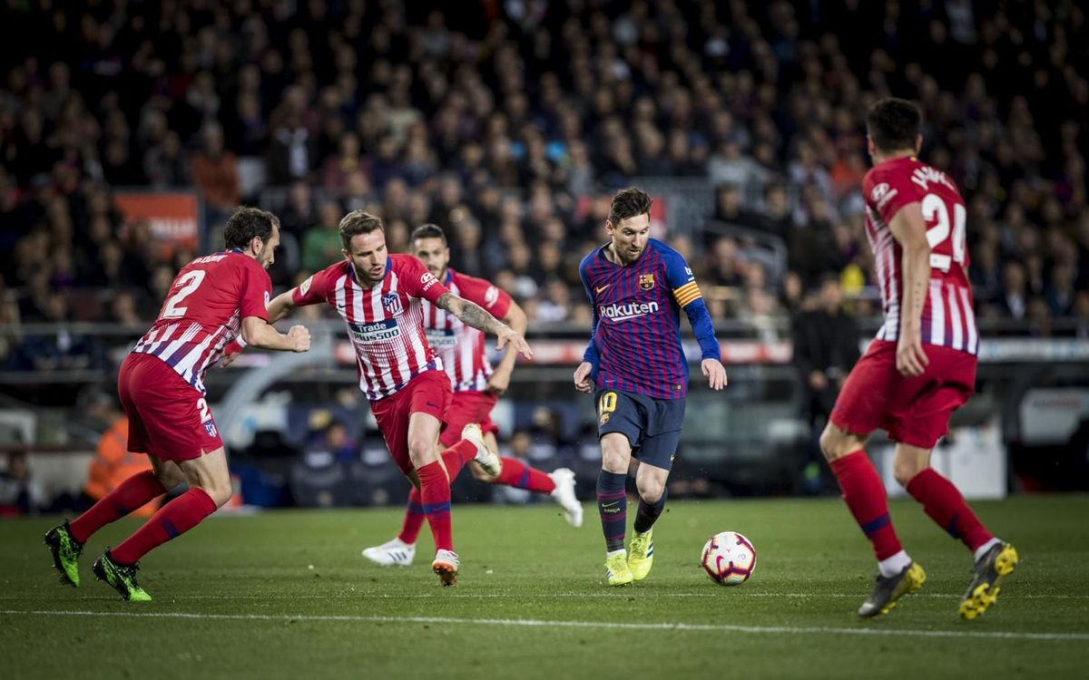 Leo Messi, en action contre l'Atlético de Madrid