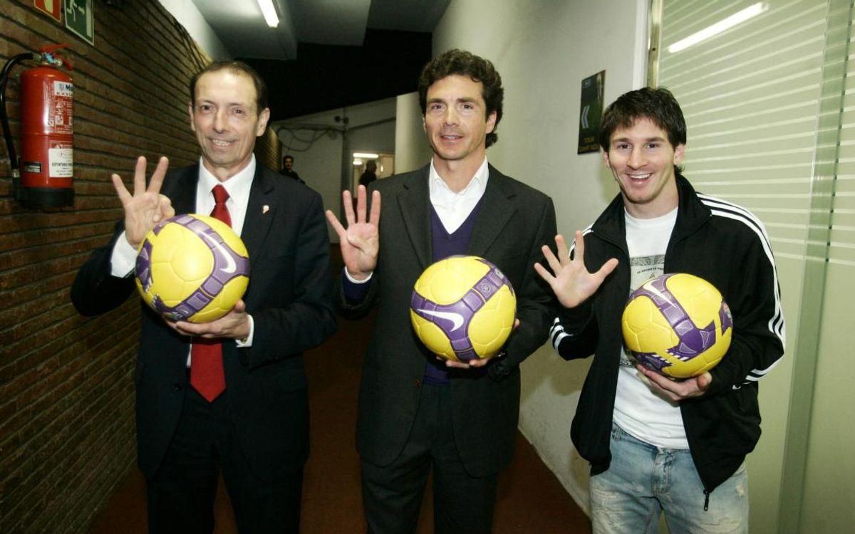 Messi, autor del gol 5.000 de la història del Barça, juntament amb Quini, que va anotar el 3.000 i Amor el 4.000