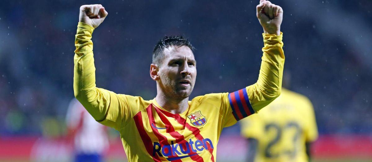 Messi celebrando el gol de la victoria en la Liga contra el Atlético de Madrid en el Wanda Metropolitano