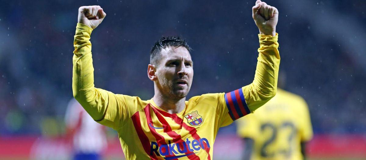 Messi celebrant el gol de la victòria a la Lliga contra l'Atlètic de Madrid al Wanda Metropolitano