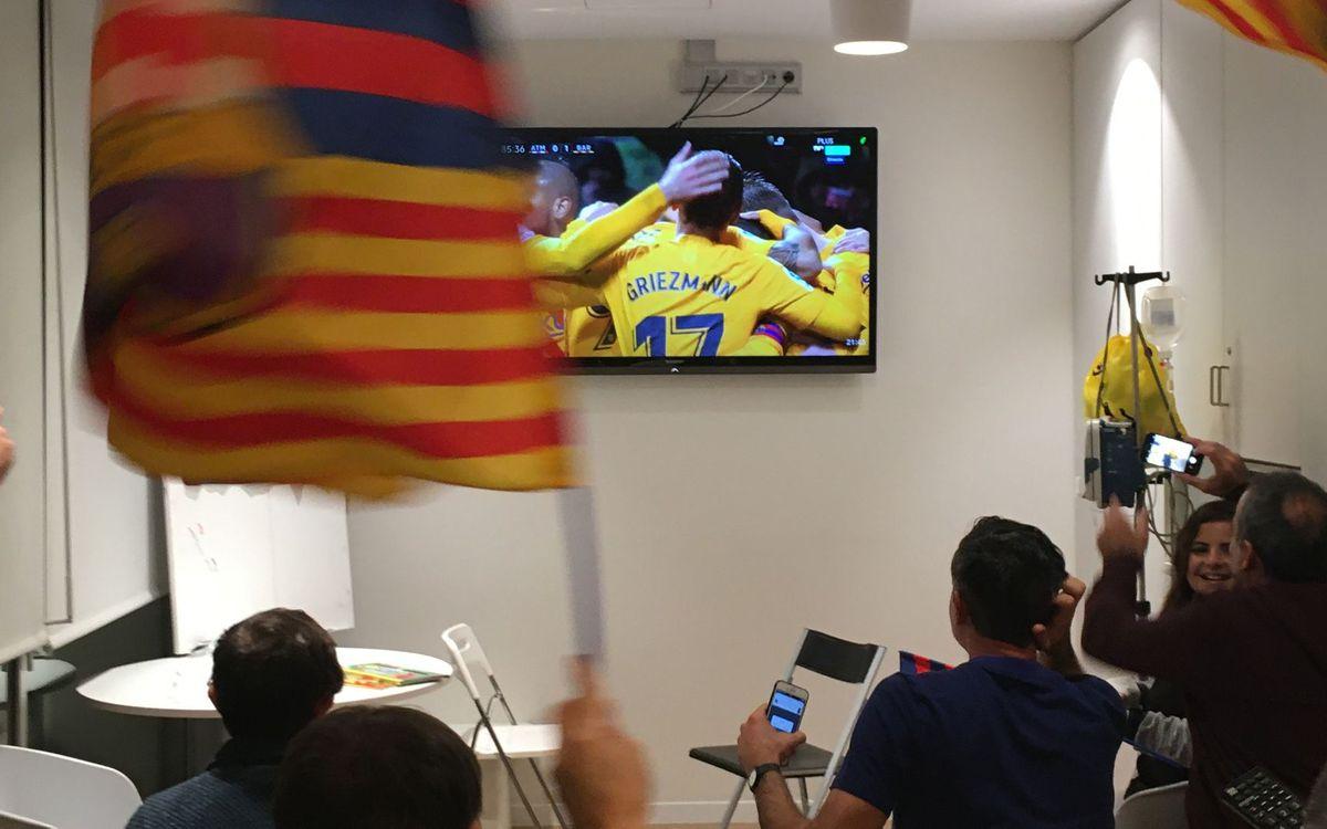 A Sant Joan de Déu també van celebrar el gol de Messi a l'At. Madrid. ABJ