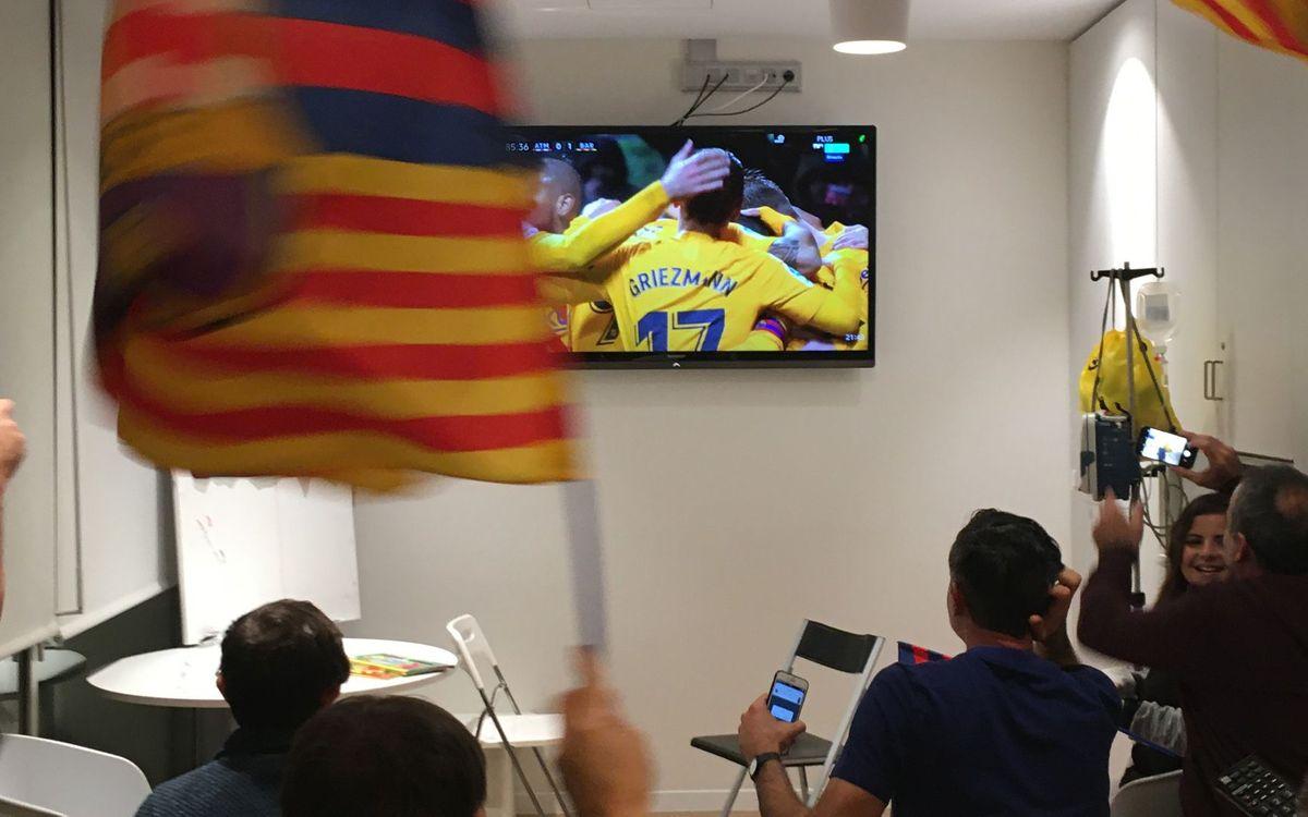 En Sant Joan de Déu también celebraron el gol de Messi al At. Madrid. ABJ