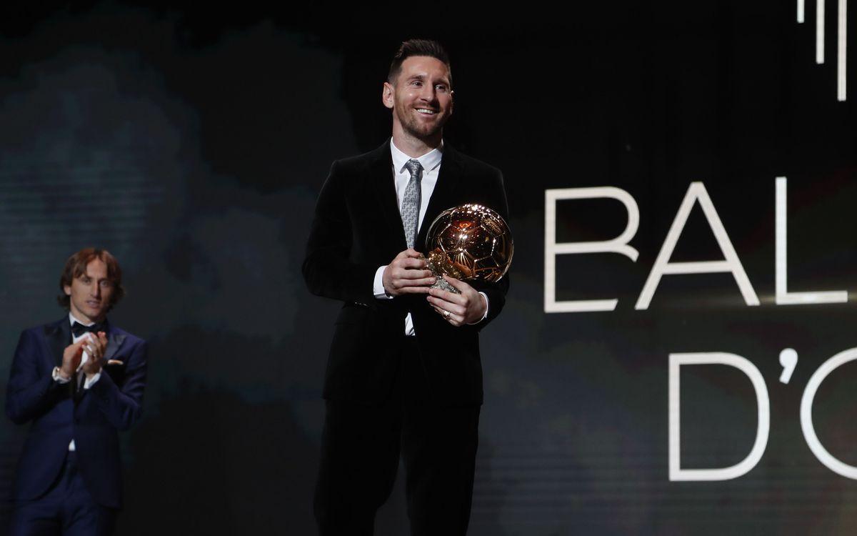 Messi con su sexto Balón de Oro conseguido en el 2019