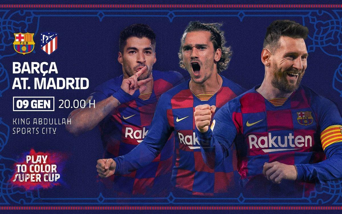 El Barça jugarà contra l'Atlètic de Madrid la semifinal de la Supercopa d'Espanya.