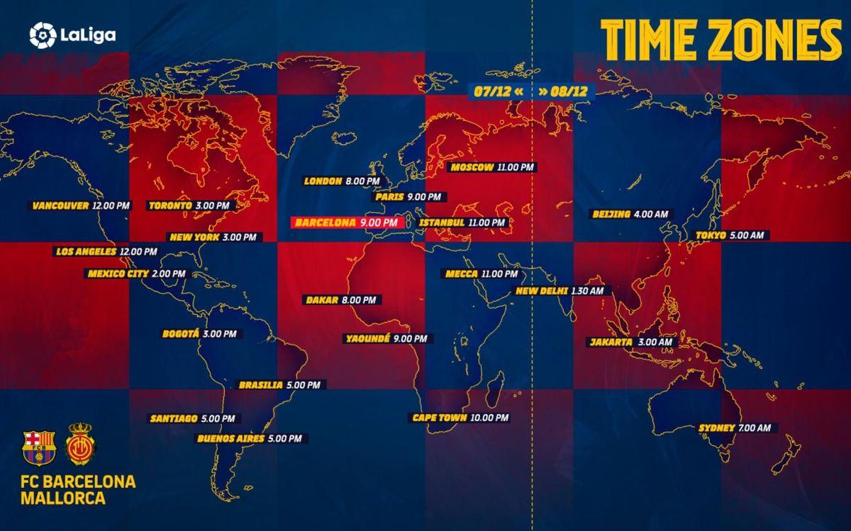Les horaires de Barça-Mallorca partout dans le monde