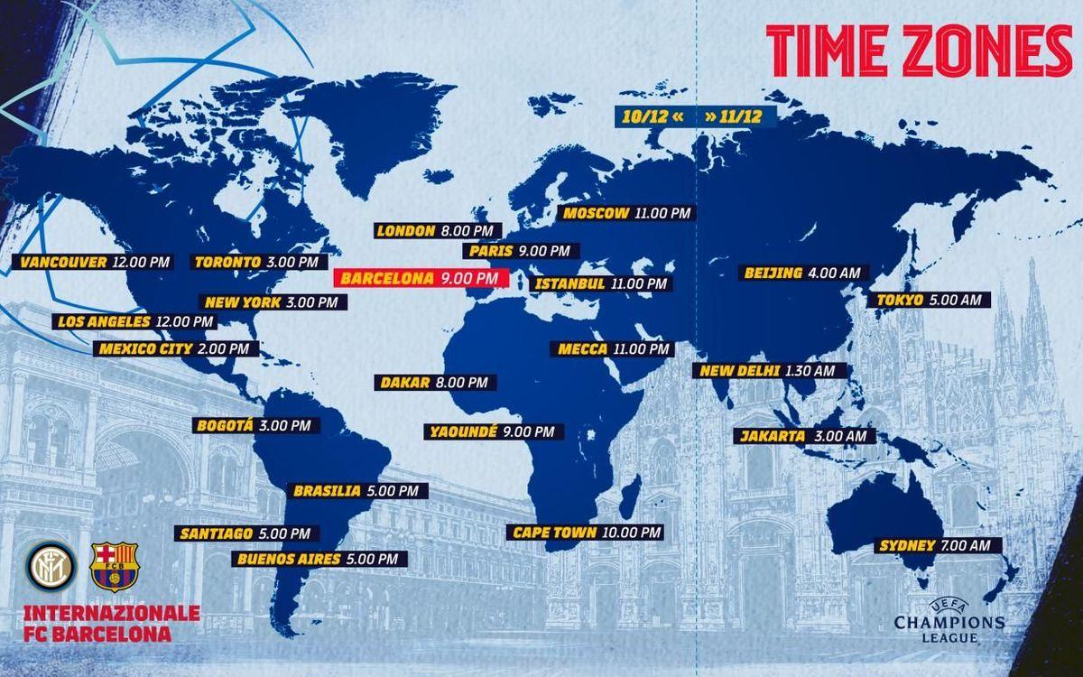 Los horarios del Inter - Barça