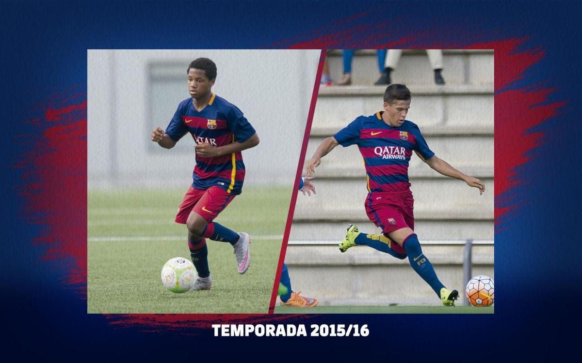 Ansu Fati y Carles Pérez, durante la temporada 2015/16.