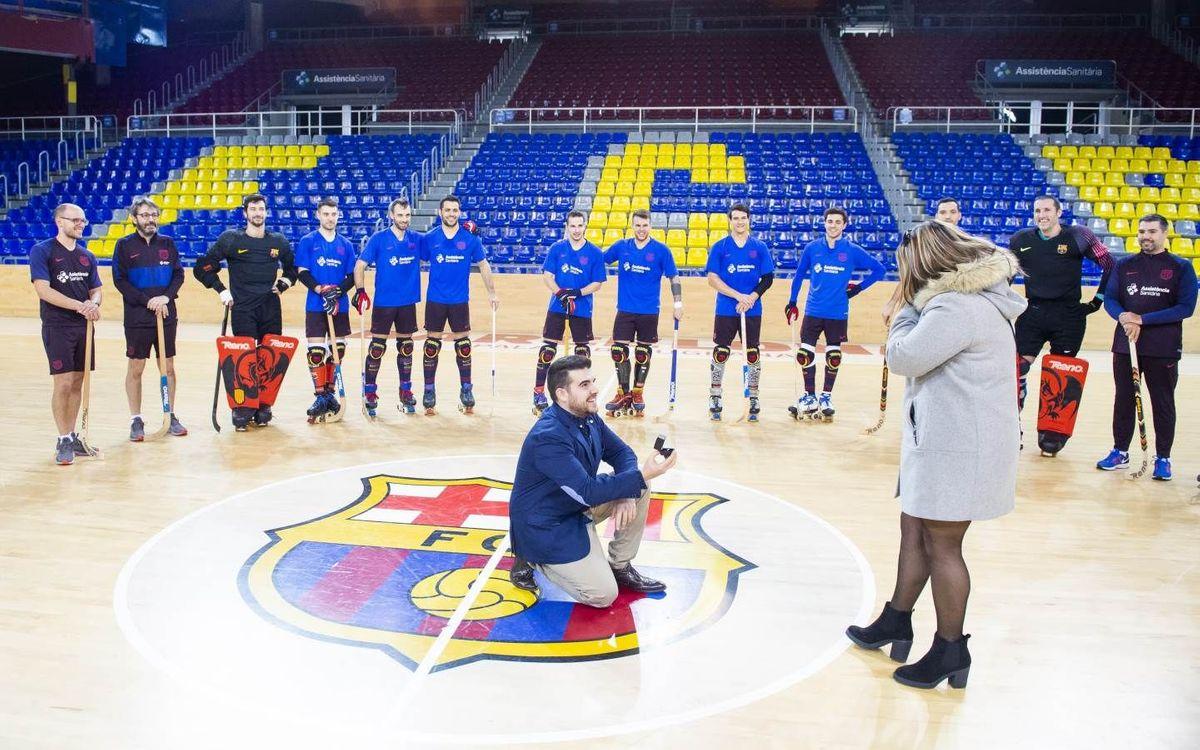 """""""Vols casar-te amb mi?"""", la petició matrimonial viscuda al Palau Blaugrana"""