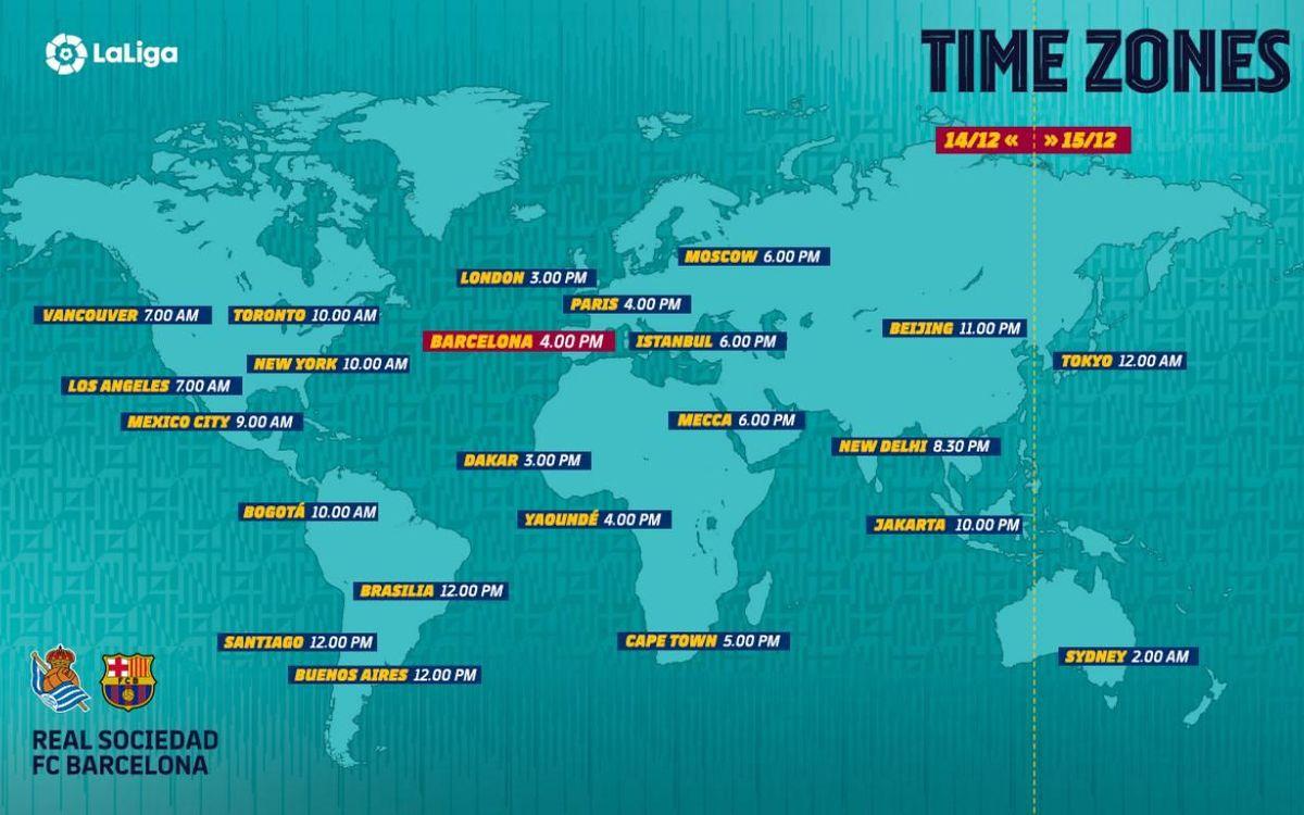 Les horaires de Real Sociedad - Barça dans le monde entier