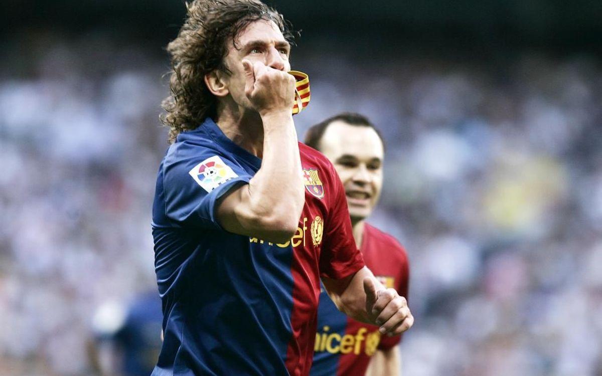 Puyol célèbre son but historique lors du 6-2 à Santiago Bernabeu
