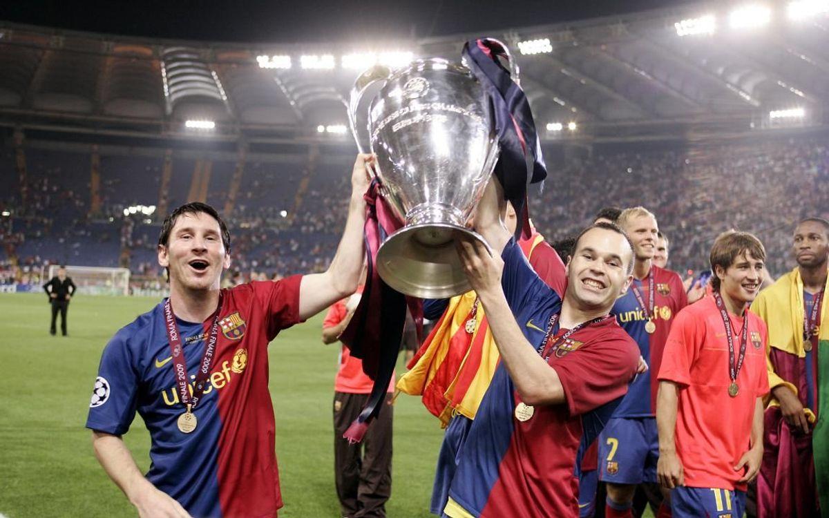 Messi e Iniesta celebrando la Champions en Roma, la segunda de sus palmareses individuales