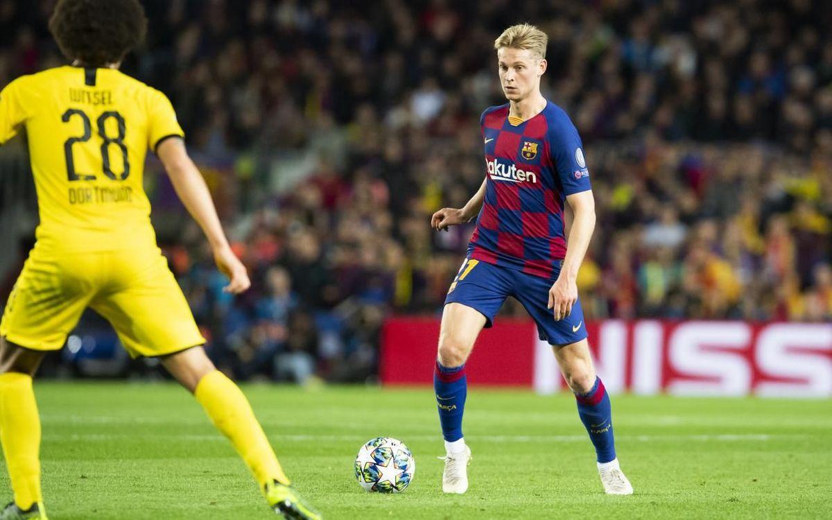 De Jong, lors de la victoire contre le Borussia Dortmund au Camp Nou (3-1)