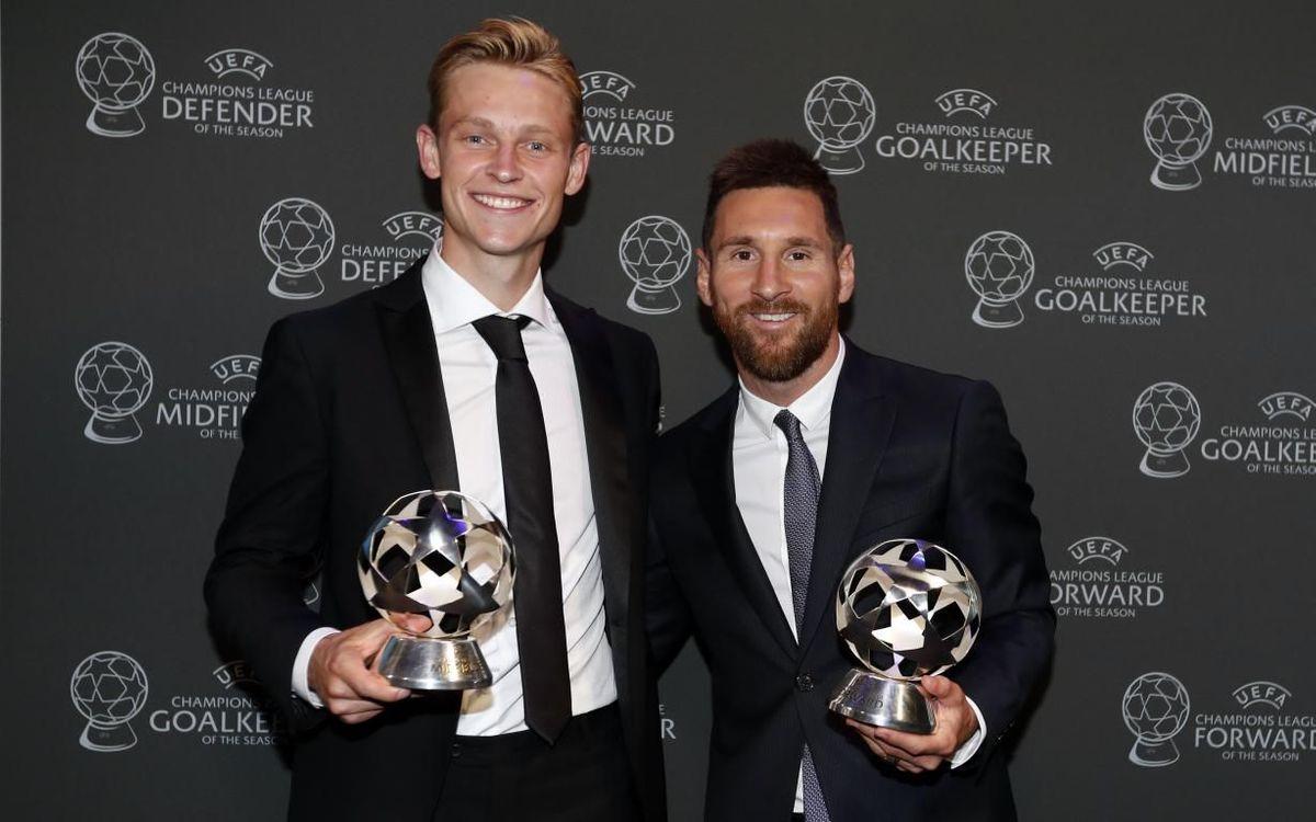 De Jong, junto a Messi, en la gala de la UEFA de hace unos meses.