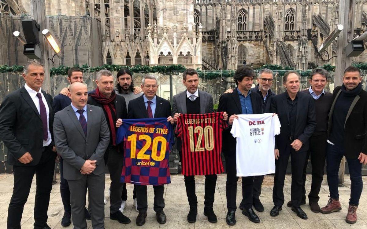 Els Barça Legends i els Milan Glorie presenten a Milà la gira 'Legends of style'