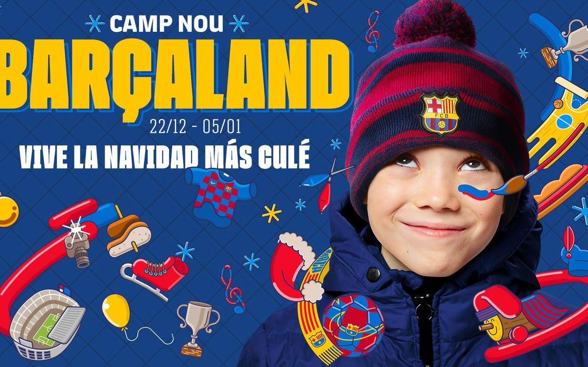 Barçaland convierte la explanada del Camp Nou en un parque de Navidad lleno de actividades para los más jóvenes