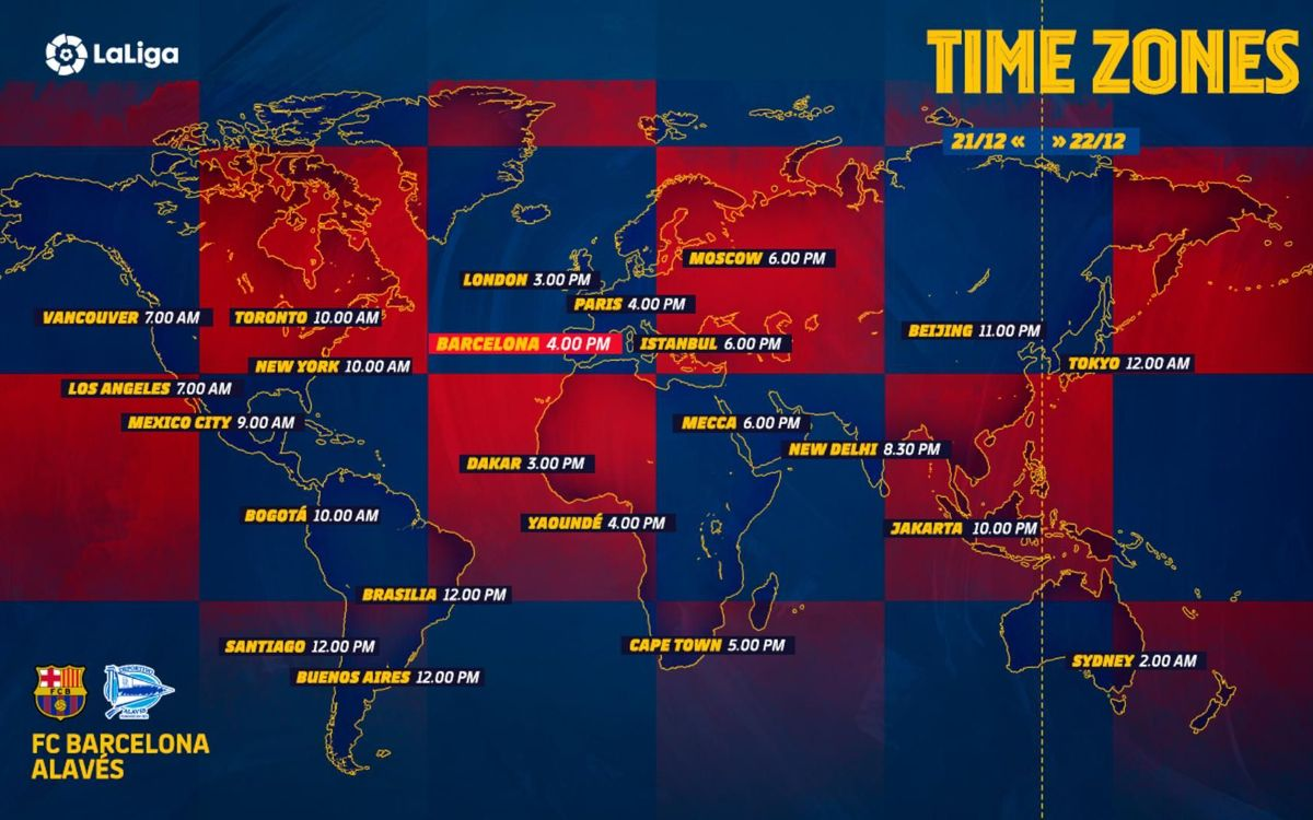 Les horaires de Barça - Alavés dans le monde entier