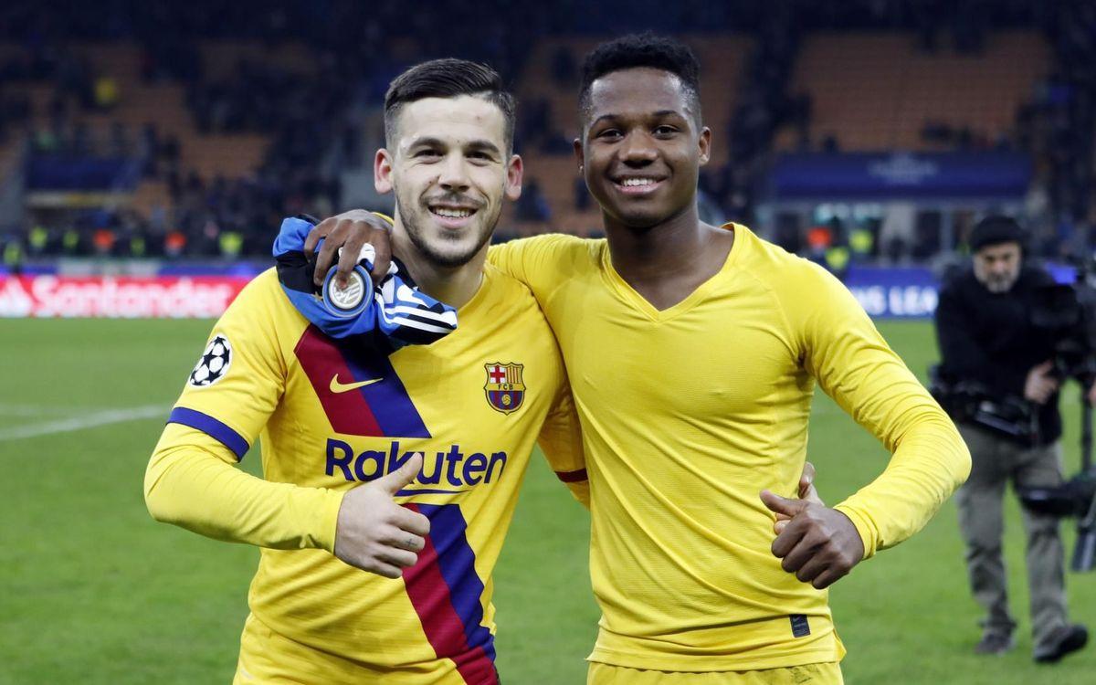 Carlos Pérez et Ansu Fati, nouveaux talents de l'équipe première du Barça, formés à la Masia