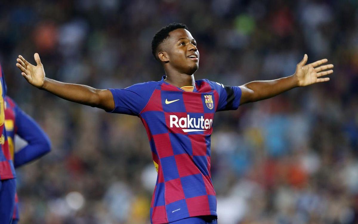 Ansu Fati celebrant el seu primer gol al Camp Nou