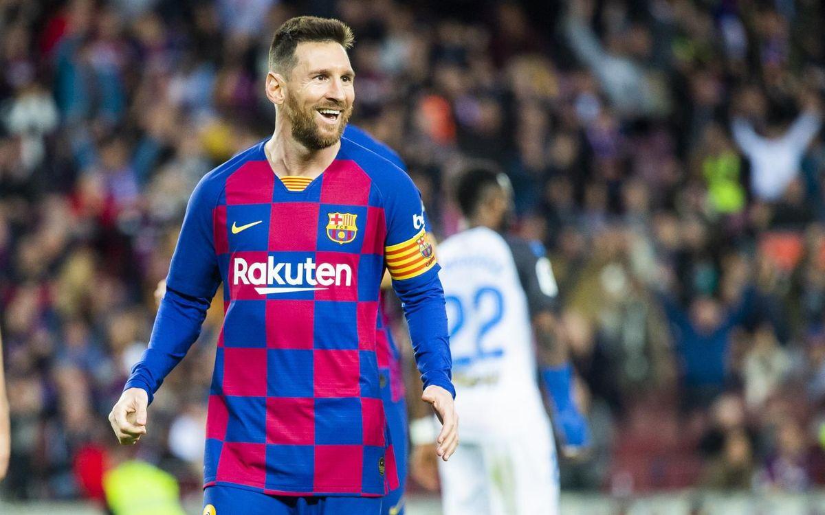 Messi celebrando su último gol del 2019 contra el Alavés