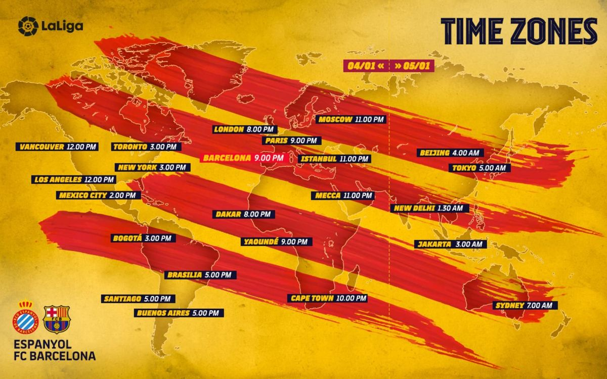 Los horarios internacionales del Espanyol - Barça