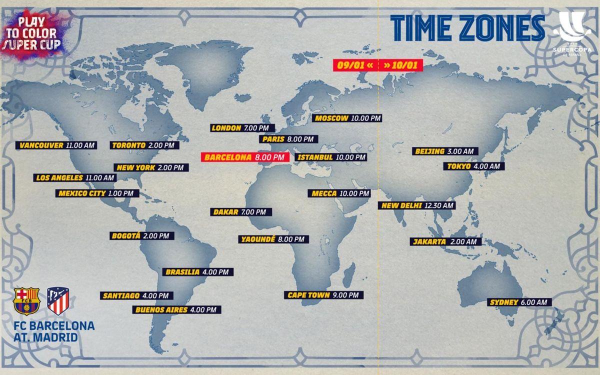 Los horarios internacionales del Barça - Atlético de la Supercopa