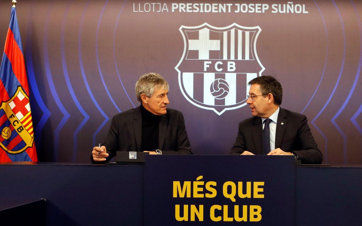 Quique Setién i Josep Maria Bartomeu, a la Llotja President Suñol
