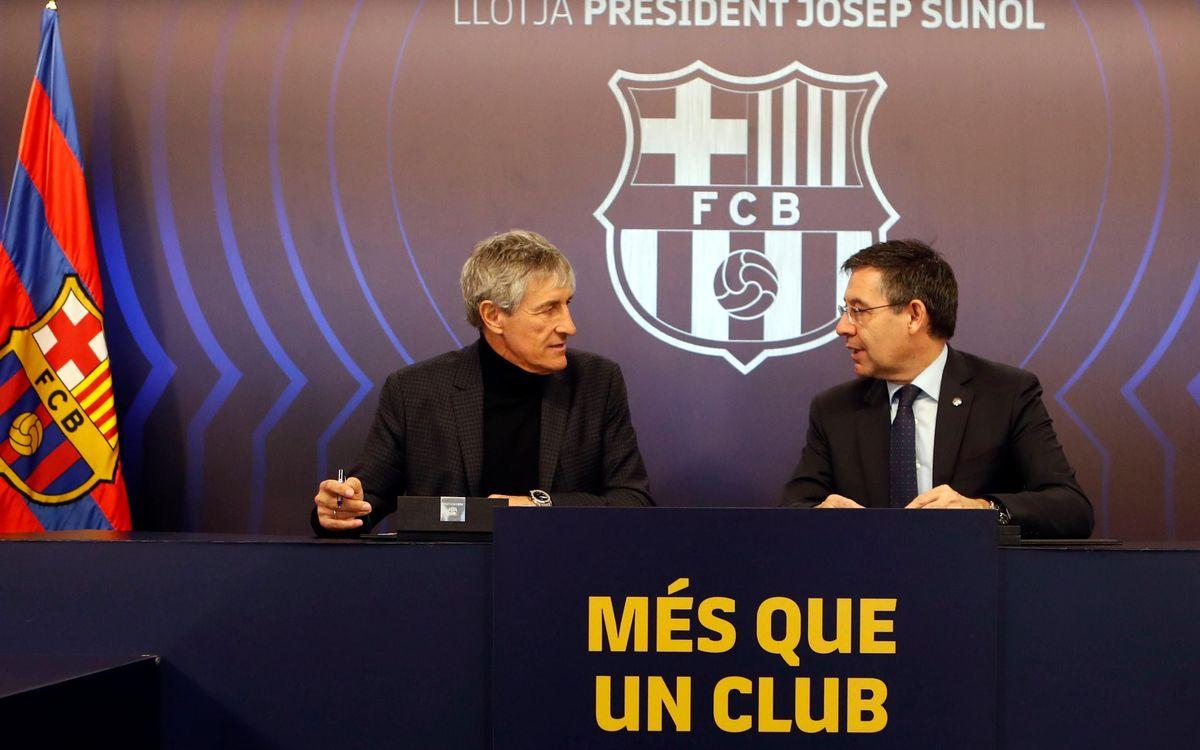 Quique Setién y Josep Maria Bartomeu, en el Palco President Suñol