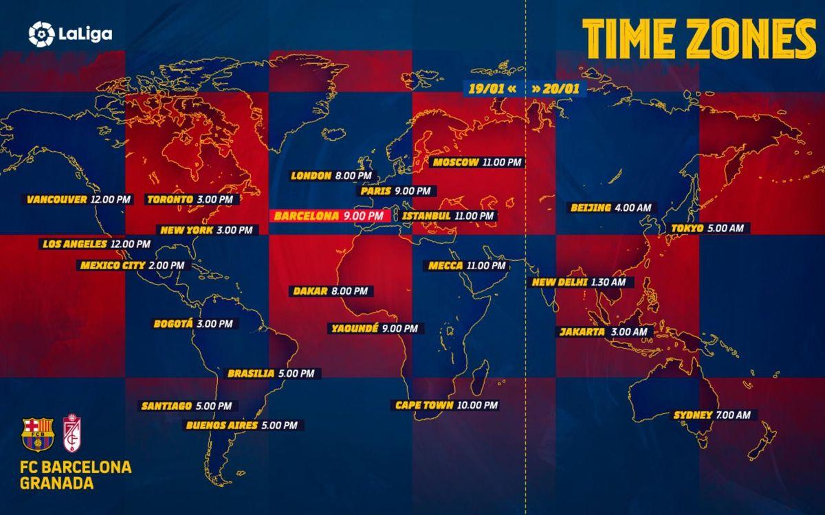 Los horarios internacionales del Barça-Granada