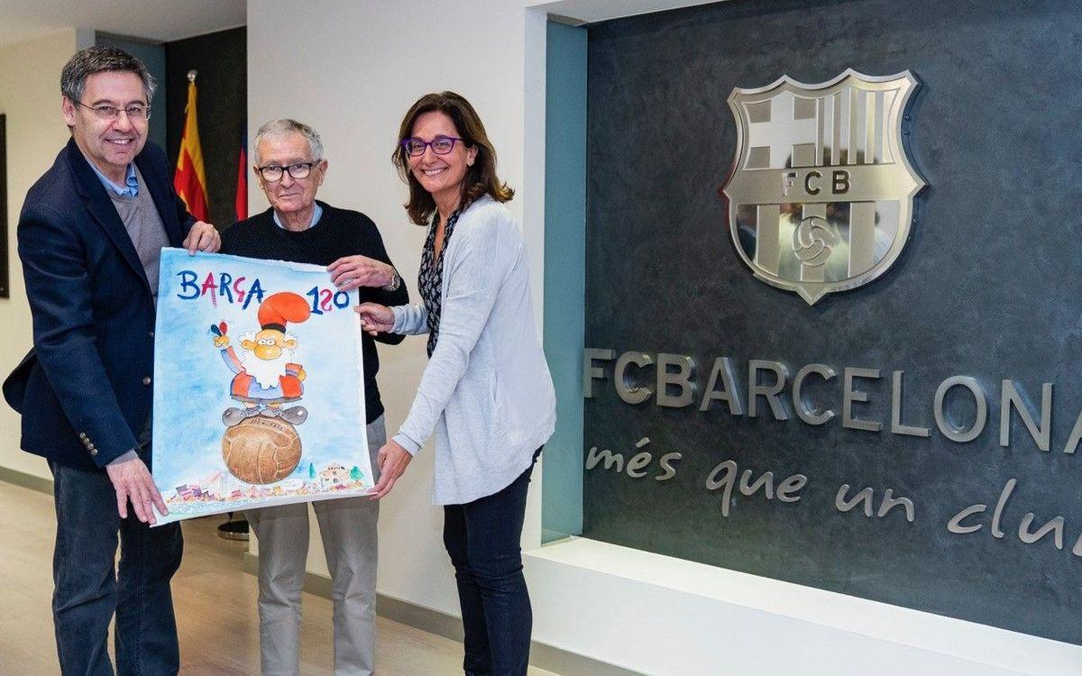 El dibuixant Fer dona al Barça la seva obra amb temàtica blaugrana