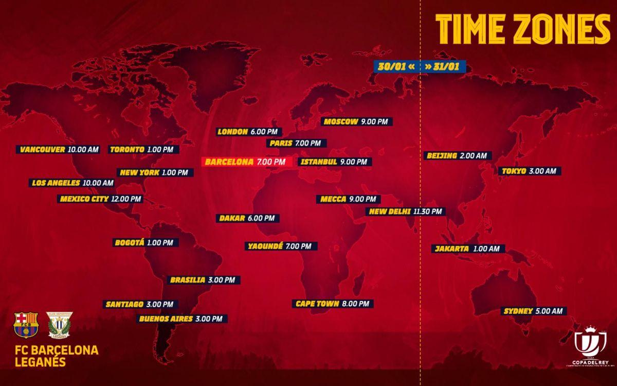 Horarios internacionales del Barça-Leganés