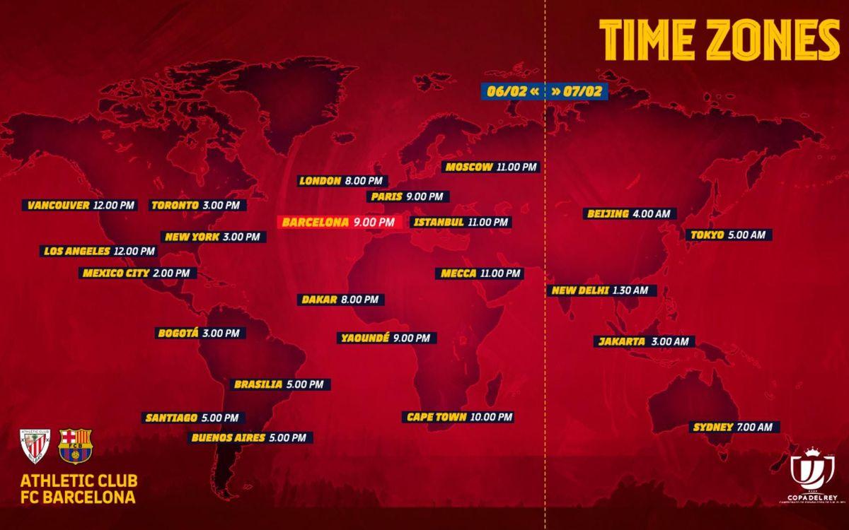 Los horarios internacionales del Athletic-Barça