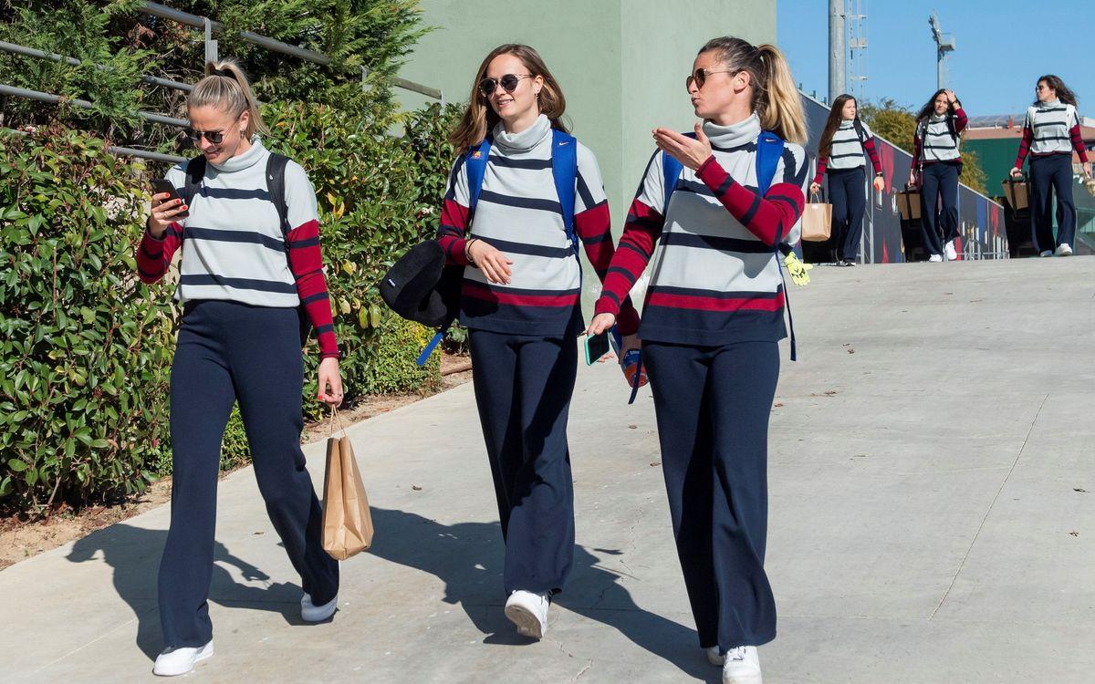 El Barça Femení estrena l'uniforme de Naulover  de fora dels terrenys de joc