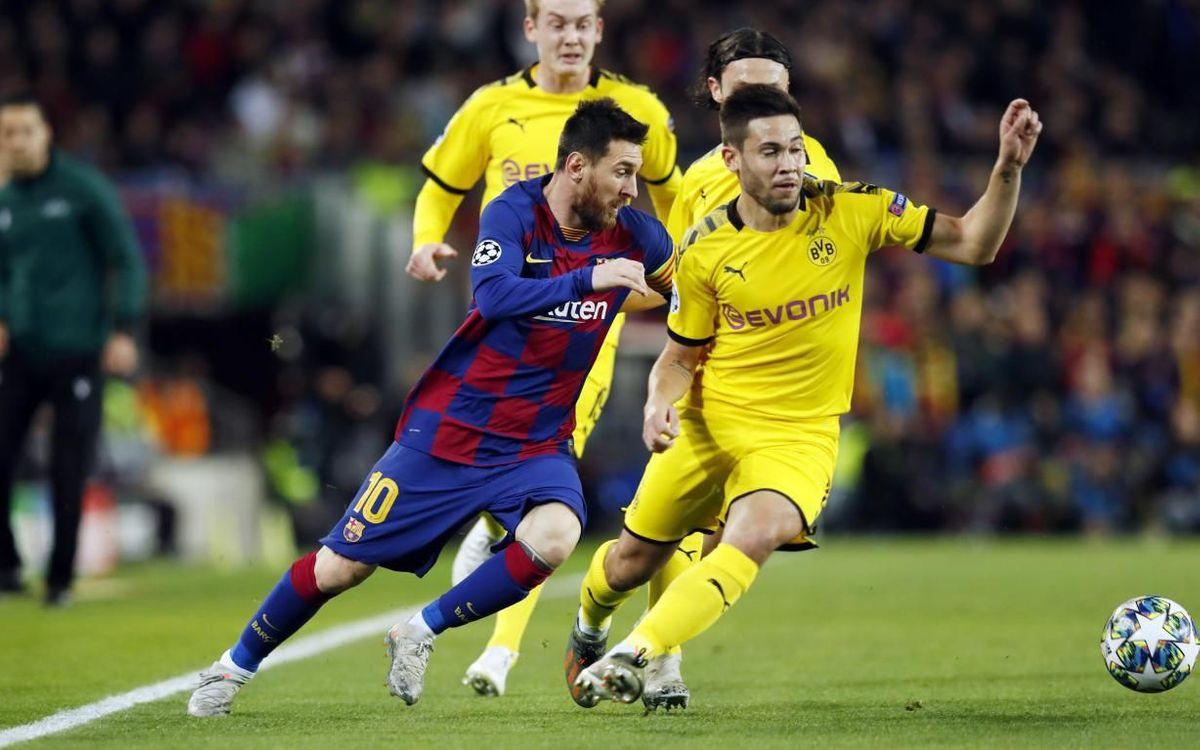 Messi, durante el partido de Champions contra el Borussia Dortmund.