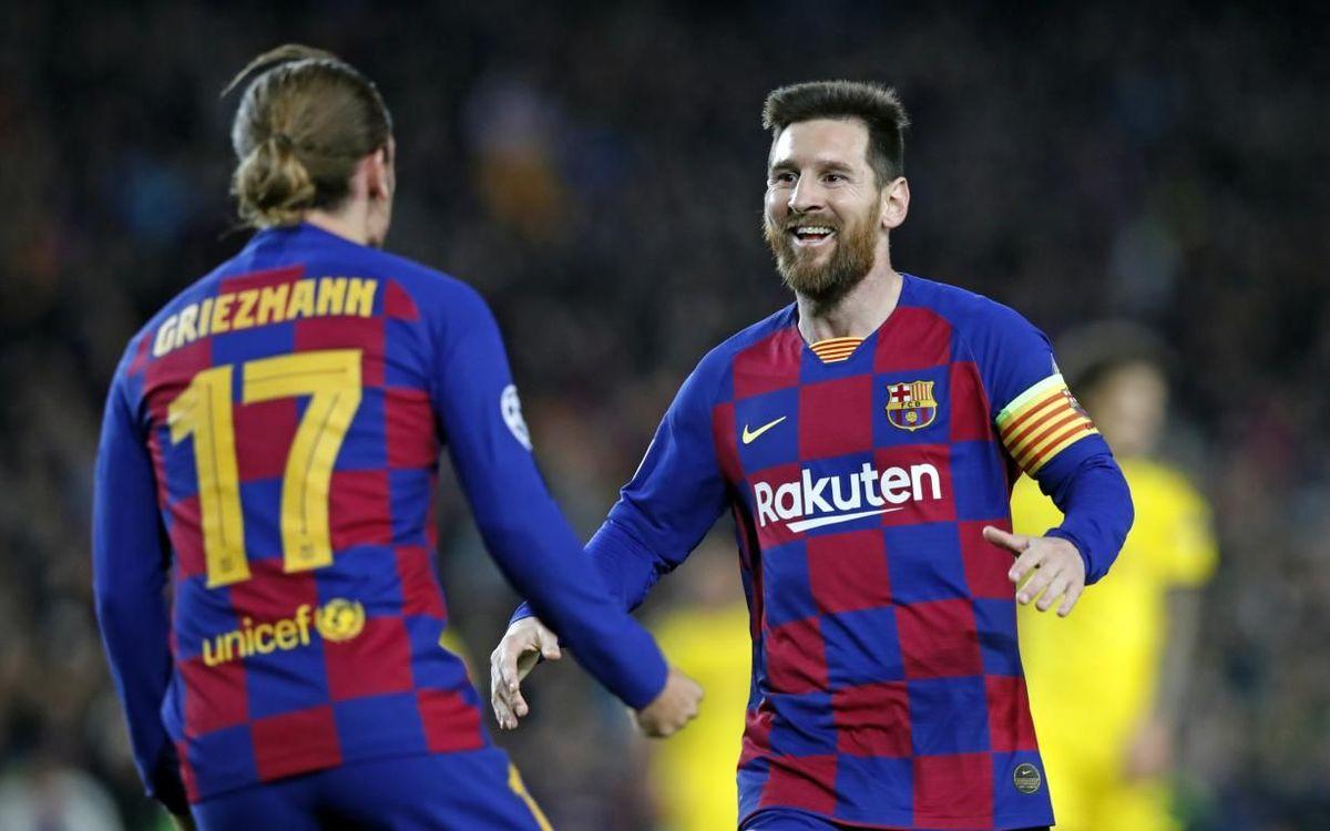 Messi y Griezmann celebran un gol en la Liga de Campeones.