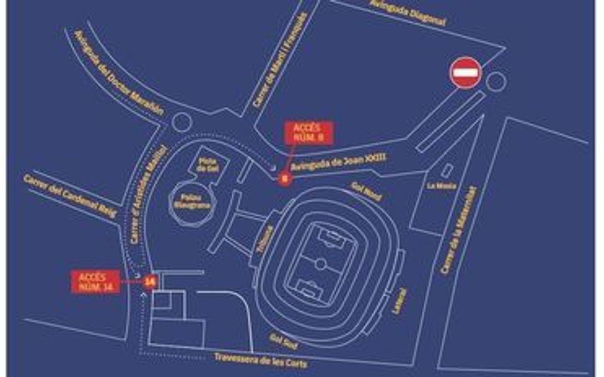 Modificaciones de movilidad en el entorno del Camp Nou