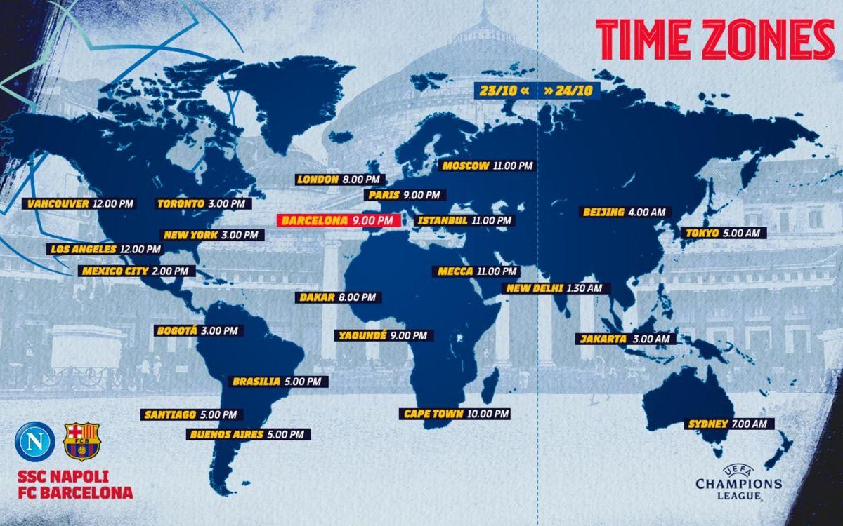 Los horarios internacionales del Nápoles-Barça