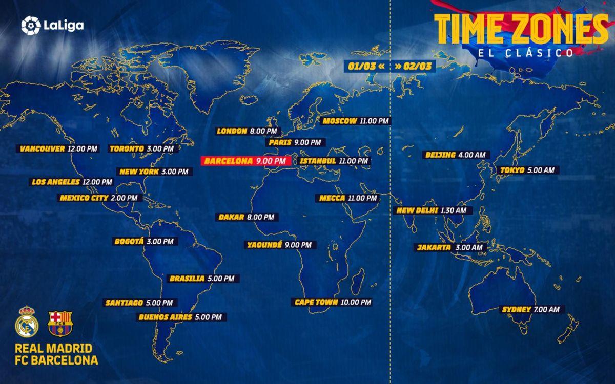 Les horaires du Clasico dans le monde entier