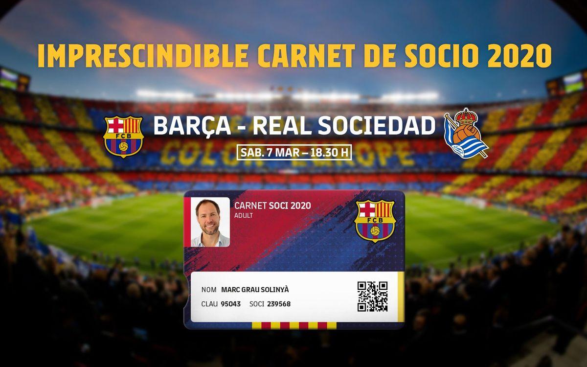 Imprescindible el carné de socio del 2020 para el próximo partido del Camp Nou