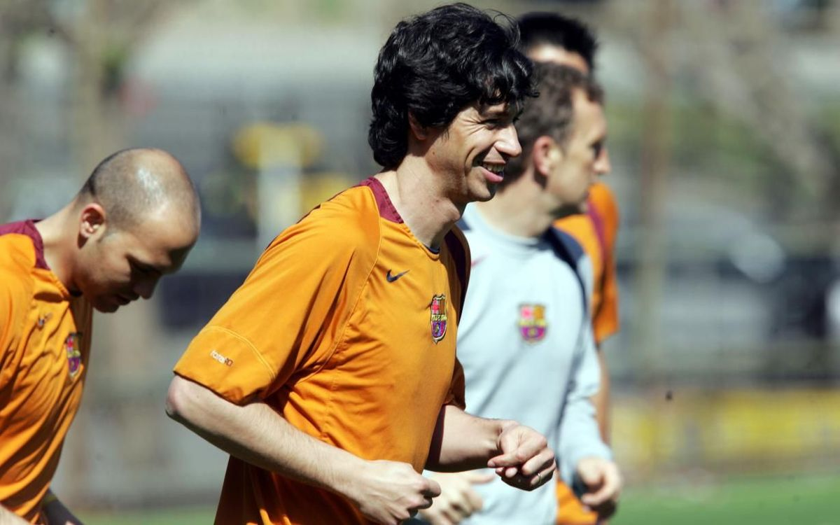Albertini during a training session with Barça