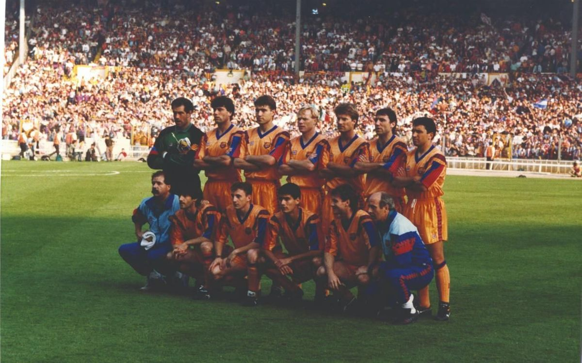 Onze del FC Barcelona a la final de Wembley, disputada el 1992.